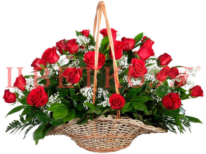 Подруге, открытка с букетом роз в корзине